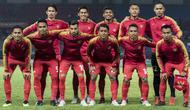 Pemain Indonesia saat melawan Palestina pada laga Asian Games di Stadion Patriot, Jawa Barat, Rabu (15/8/2018). Indonesia takluk 1-2 dari Palestina. (Bola.com/Vitalis Yogi Trisna)