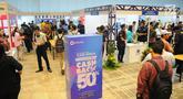 Pencari kerja memadati tempat berlangsungnya Talent Fest dan Bursa Kerja Nasional 2019 di JI-EXPO, Kemayoran, Jakarta, Jumat (23/2). Ajang yang digelar Kementerian Ketenagakerjaan ini berlangsung dua hari, 22-23 Maret 2019. (Liputan6.com/Angga Yuniar)