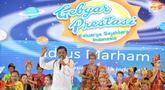 Mensos Idrus Marham memberi sambutan dalam acara Gebyar Prestasi Keluarga Sejahtera Indonesia 2018 di Buperta Cibubur, Jakarta, Minggu (12/8). Anak-anak diharapkan bisa mengaktualisas   ikan prestasi yang diraih. (Liputan6.com/Faizal Fanani)