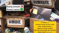 Laptop dibuang ke tempat sampah di Taiwan (Sumber: TikTok/gppsambataja)
