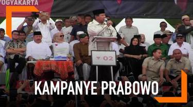 Prabowo  Subianto melanjutkan kampanye terbukaknya di Yogyakarta. Di hadapan pendukungnya Prabowo tampak menggebrak-gebrak podium saat berorasi.