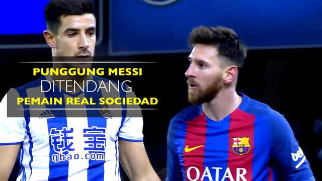 Berita video bintang Barcelona, Lionel Messi, ditendang punggungnya oleh pemain Real Sociedad, Yuri Izeta di Copa del Rey, Kamis (19/1/2017).