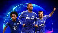 Liga Champions - Willian, Didier Drogba, Frank Lampard (Bola.com/Adreanus Titus)
