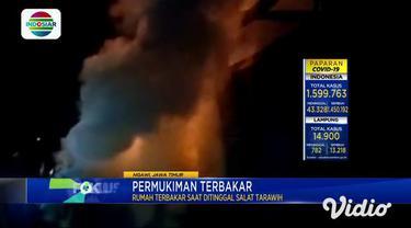 Sebuah rumah ludes terbakar dilalap si jago merah di Desa Bendo, Kecamatan Padas, Ngawi, Jawa Timur, pada Sabtu malam (17/4).