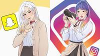 Logo media sosial digambar jadi karakter anime (Sumber: Instagram/sillvi_illustrations)