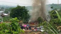 Sebuah tempat ibadah bagi para muslim di desa Lone Khin, Kachin, Myanmar dibakar oleh massa