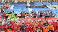 Selebrasi Persija Jakarta usai mengalahkan Shan United di Thuwunna Stadium, Selasa (12/3/2019). (Instagram Cak Takim).