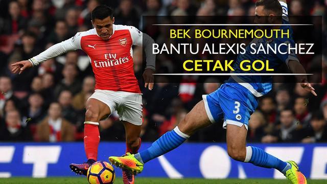 Video momen bek Bournemouth, Steve Cook, bantu Alexis Sanchez cetak gol untuk Arsenal di Premier League, Minggu (27/11/2016).