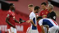 Gelandang Paul Pogba pada laga Liga Inggris antara Manchester United dan Crystal Palace di stadion Old Trafford di Manchester, Inggris, Sabtu , 19 September 2020. (Shaun Botterill / Pool via AP)