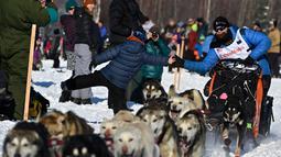 Dallas Seavey membungkuk untuk melakukan high-five saat Iditarod Sled Dog Race di Deshka Landing di Willow, Alaska, Minggu (7/3/2021). Jarak yang harus ditempuh biasanya hampir 1.000 mil dan tahun ini dikurangi menjadi sekitar 100 mil. (Marc Lester/Anchorage Daily News via AP)