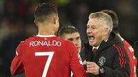 Begitu juga dengan Cristiano Ronaldo yang keluar sebagai pahlawan Manchester United. Setan Merah sempat tertinggal 0-2 dari Atalanta, lewat gol-gol dari Mario Pasalic dan Merih Demiral. (AP/Dave Thompson)