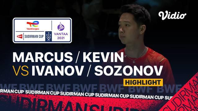 Berita video highlights kemenangan ganda putra Indonesia, Marcus Gideon / Kevin Sanjaya, atas duo menara Rusia, Vladimir Ivanov / Ivan Sozonov, di Grup C Piala Sudirman 2021, Minggu (26/9/2021) malam hari WIB.