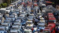 Foto demo sopir taksi di Jakarta. (Reuters)