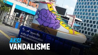 VIDEO: Baru Sehari dipamerkan, Tugu Sepatu dirusak Aksi Vandalisme