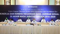 Masa tugas segera berakhir, Direksi BPJS Kesehatan 2016-2020 pamit dalam konferensi pers pada Senin, 8 Februari 2021. (Humas BPJS Kesehatan Kantor Pusat)