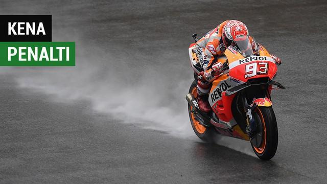 Berita video highlights kualifikasi balapan MotoGP Malaysia di mana Marc Marquez kena penalti yang membuatnya tidak jadi meraih pole position, Sabtu (3/11/2018).