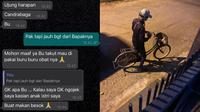 Driver Ojol Ini Kayuh Sepeda Sejauh 15 Km Untuk Antarkan Obat, Demi Makan Anak Istri. (Sumber: Twitter/peacefulgreeny)