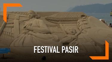 Pantai terpopuler di Korea Selatan berubah menjadi galeri seni besar. Festival bertemakan ketika musik bertemu pasir ini diselenggarakan untuk menyambut musim panas.