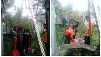 Tim BPBD Boyolali saat evakuasi kucing di sumur. (BNPB)