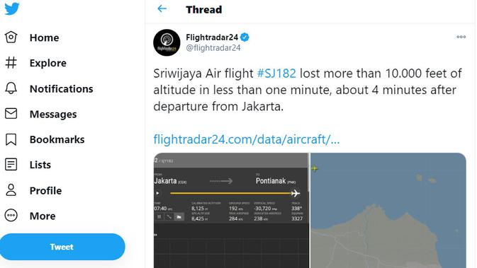 Flightradar24 menjelaskan posisi Sriwijaya Air SJ182. Kredit: Flightradar24 via Twitter