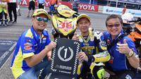 Wawan Wello (tengah) merayakan kemenangan di kelas UB150 ARRC 2018 (dok: Yamaha)