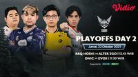 Link Live Streaming MPL Indonesia Season 8 Babak Playoff di Vidio Hari Ini, Duel Empat Tim Besar. (Sumber : dok. vidio.com)