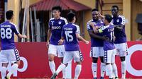 Hanoi FC saat merayakan gol ke gawang Tampines Rovers dalam penyisihan Grup F Piala AFC 2019 (15/5/2019). (Bola.com/Dok. AFC)