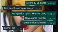 6 Chat Antara Kurir dan Pembeli Ini Saling Curhat, Bikin Senyum (sumber: Twitter/txtdarionlshop)