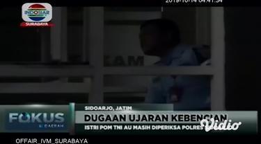 Akibat postingan bernada ujaran kebencian terhadap Menteri Koordinator Politik, Hukum dan Keamanan (Menkopolhukam) Wiranto, FS istri Peltu YNS anggota TNI AU di Surabaya harus berurusan dengan pihak Kepolisian.