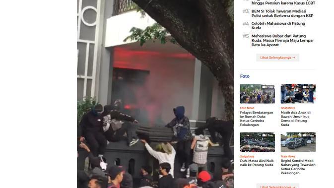 Cek Fakta Liputan6.com menelusuri klaim rumah Puan Maharani dibakar mahasiswa