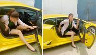 Artis Cantik Ini Kesulitan Keluar dari Lamborghini Huracan (Cartoq)