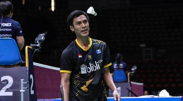 Ekspresi Shesar Hiren Rustavito saat tampil di perempat final Thailand Masters 2020, Jumat (24/1/2020). (Humas PBSI)