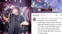 Komentar kocak warganet di video 'Oppa Nassar Kiyowo'. (Instagram/@kingnassar88/YouTube/Indosiar)