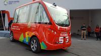 bus otonomos atau nirsopir Navya dipakai di perhelatan Asian Games 2018 (Arief A/Liputan6.com)