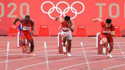 Sprinter muda Indonesia itu harus puas hanya menempati peringkat kelima dalam heat 4 round 1 cabang atletik nomor lari 100 meter putra Olimpiade Tokyo 2020 di Olympic Stadium, Tokyo, Sabtu (31/7/2021). (Dok NOC Indonesia)