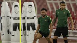 Pemain Timnas Indonesia, Saddil Ramdani, saat latihan jelang laga kualifikasi Piala Dunia di SUGBK, Jakarta, Senin (2/9). Indonesia akan berhadapan dengan Malaysia. (Bola.com/M Iqbal Ichsan)