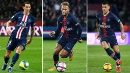 Kombinasi gambar menunjukkan (kiri-Kanan) pemain Paris Saint-Germain Angel Di Maria di Paris pada 9 Februari 2020, Neymar di Paris pada 7 Oktober 2018, dan Leandro Paredes di Paris pada 7 April 2019. Ketiganya dinyatakan positif virus corona COVID-19. (Franck FIFE, Geoffroy VAN DER HASSELT/AFP)