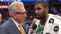 Guard Boston Celtics, Kyrie Irving, sedang melakukan wawancara selepas laga kontra Philadelphia 76ers di Wells Fargo Center, Philadelphia, Sabtu (21/10/2017) WIB. (NBA)