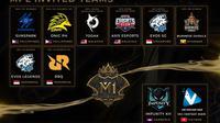 Deretan tim-tim yang akan mengikut M1, di Malaysia, dua pekan mendatang.  (FOTO / Ist Moonton)