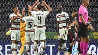 Portugal merayakan keberhasilan mengalahkan Kroasia dengan skor 4-1 pada ajang UEFA Nations League, Minggu (6/9/2020) dini hari WIB. (MIGUEL RIOPA / AFP)