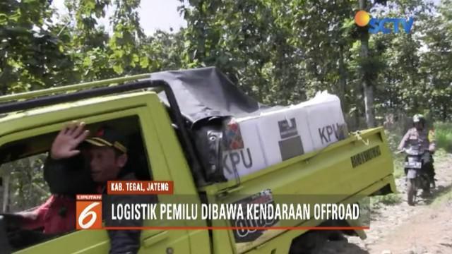 KPU meminta tolong komunitas offroad untuk mendistribusikan logistik pemilu di Tegal, Jawa Tengah.