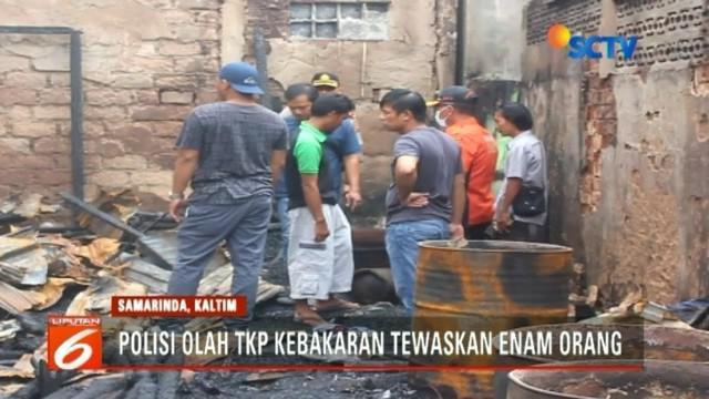 Polda Kalimantan Timur menggelar olah TKP kebakaran di Samarinda dengan melibatkan sejumlah saksi.