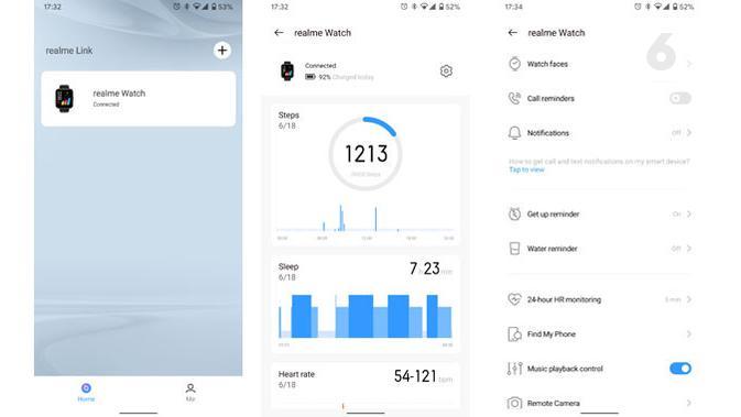 User interface di aplikasi Realme Link. (Liputan6.com/ Yuslianson)