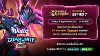 Jadwal dan Live Streaming Vidio Community Cup Ladies Season 4 Mobile Legends Bang Bang Series 7 di Vidio, Rabu 8 September 2021. (Sumber : dok. vidio.com)