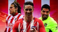 Atletico Madrid - Diego Forlan, Fernando Torres, Luis Suarez (Bola.com/Adreanus Titus)