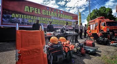Gelar Pasukan Polda Gorontalo menghadapi Siklon Tropis (Arfandi Ibrahim/Liputan6.com)
