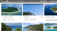 Tangkapan layar tawaran penjualan sejumlah pulau di situs online www.privateislandsonline.com.