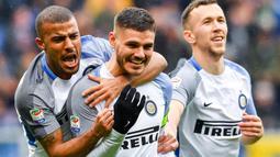 Kapten Inter Milan, Mauro Icardi (tengah) saat merayakan gol ke gawang Sampdoria di Luigi Ferraris Stadium, Genoa, Italia, (18/3/2018). Inter Milan menang 5-0. (Simone Avreda/ANSA via AP)