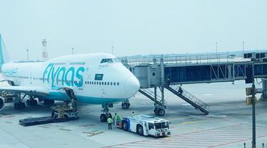 Maskapai penerbangan Flynas asal Arab Saudi. Liputan6.com/Pramita