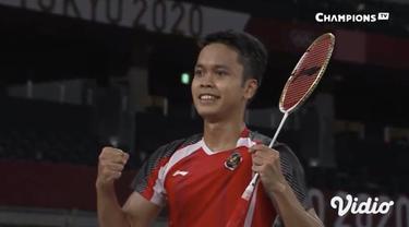 Tunggal putra bulu tangkis Indonesia Anthony Sinisuka Ginting melenggang ke babak semi-final usai raih kemenangan saat bertanding melawan wakil tuan rumah Kanta Tsuneyama di Musashino Forest Sport Plaza hari Kamis (29/7)